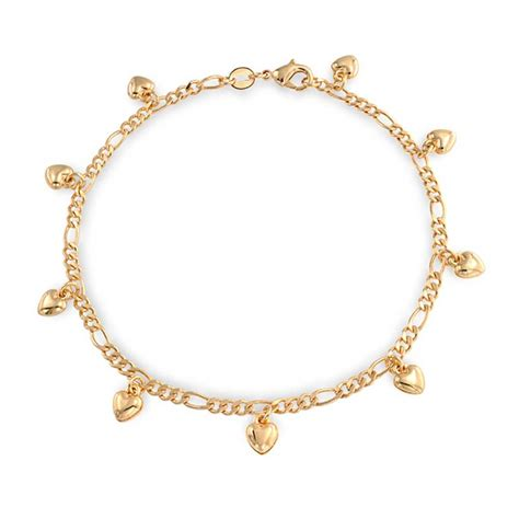 bracelet chains for jewelry gold filled figaro chain charm bracelet anklet 9 inch