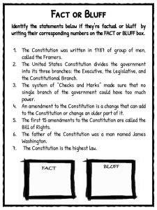 United States Constitution Worksheet