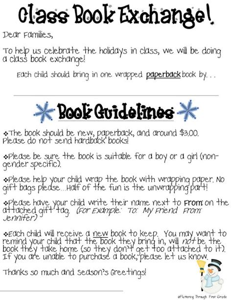 Gift Exchange Letter To Parents Fluttering Through Grade Class Book Exchange Freebie