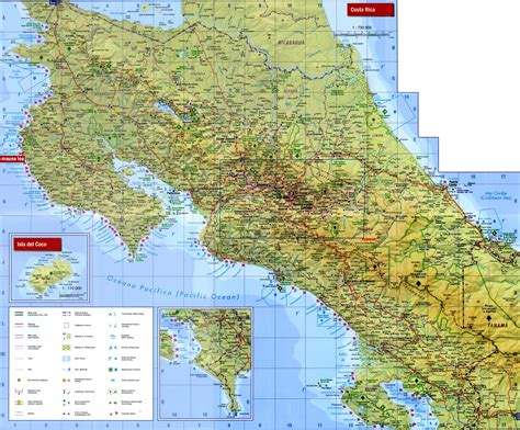 detailed road map of costa rica large detailed road and topographical map of costa rica