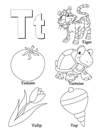 E T Coloring Pages by My A To Z Coloring Book Letter T Coloring Page