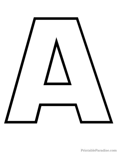 outline capital a printable letter a outline print bubble letter a