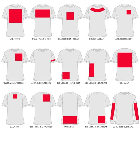 printable area on a t shirt print locations designashirt com help desk