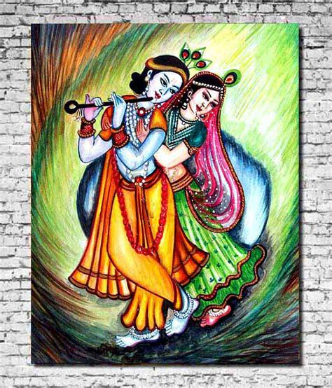 Canvas Without Frame mesleep canvas dancing radha krishna painting without
