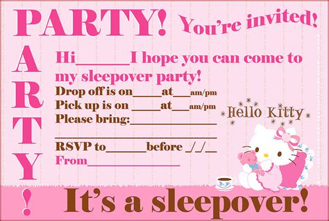 printable birthday invitations for sleepover free hello kitty printable sleepover party invites