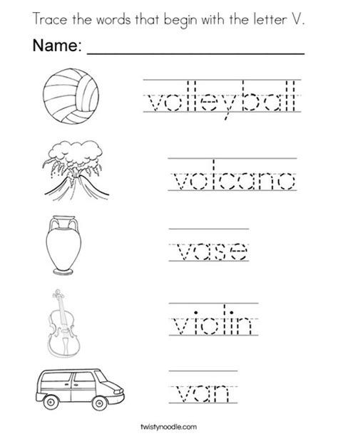 5 Letter Words With K And V trace the words that begin with the letter v coloring page