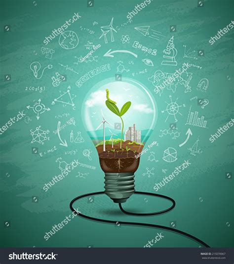 design concept background green seedlings light bulb ecology concept stock vector