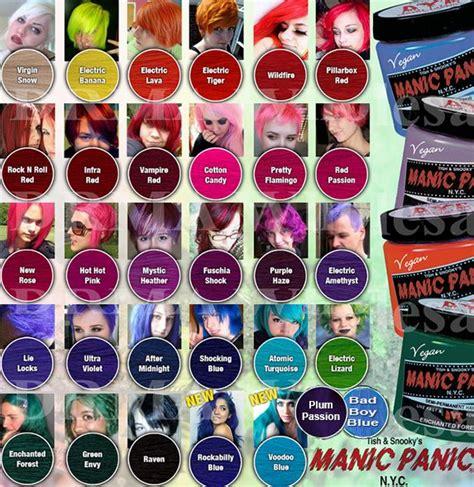manic panic color hair dye chart manic panic search hair