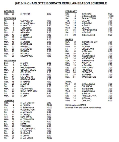 printable hornets schedule 2013 14 schedule list the official site of the charlotte