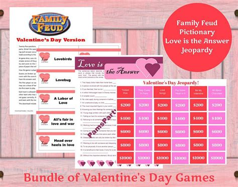 printable valentine s love is the answer game cards for valentine s day printable games bundle lot of 4 game