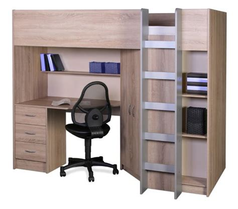 Wardrobe With Desk by Calder Sonoma Oak High Sleeper With Wardrobe And Desk