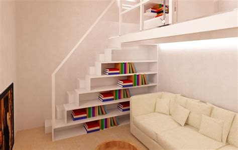 libreria soppalco una zona studio verticale mayday casa e progetti