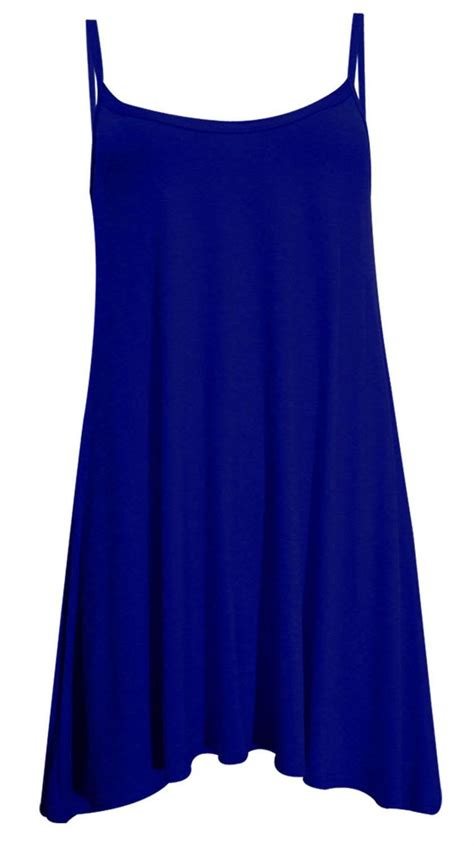 swing top dress new ladies sleeveless plain printed tops long cami swing