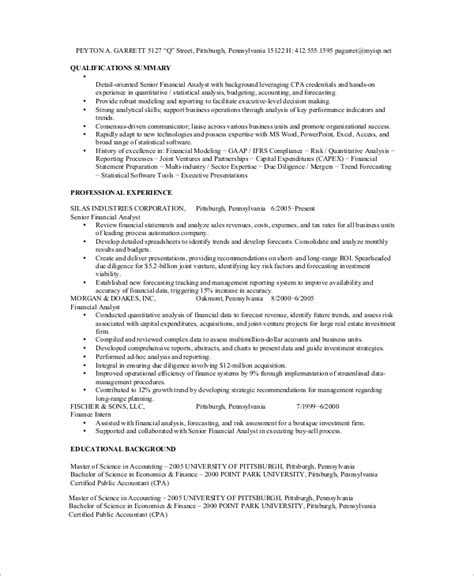 senior financial analyst resume sles sle financial analyst resume 7 exles in word pdf