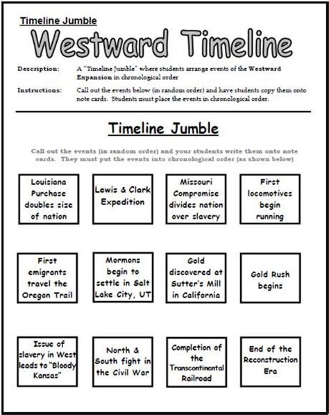 western a expansion timeline jumble worksheet this would