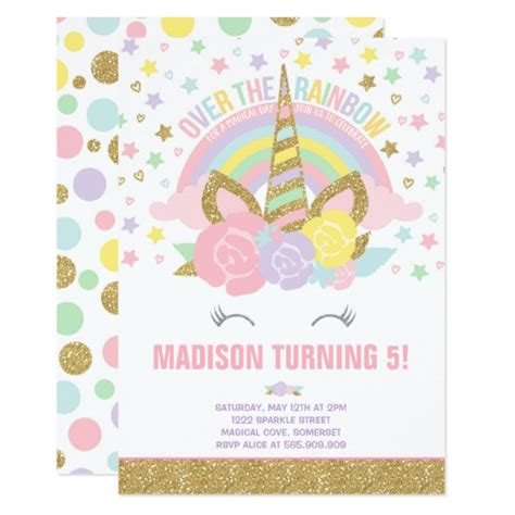 free printable birthday invitations nz rainbow unicorn birthday invitation pink gold zazzle com