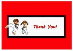 Thank You Note To Karate Karate Thank You Cards Birthday Printable
