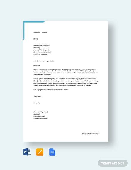 vacation leave request letter template word