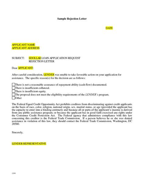 Year Education Loan Letter Format Loan Rejection Letter Sle Letter
