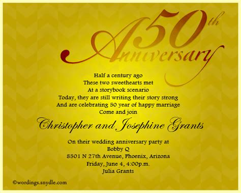 Wedding Sle Invitation by Sle Wording For 50th Anniversary Invitations Style