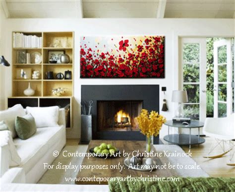 popular items for red poppy home decor on etsy custom art abstract painting red poppy flowers large