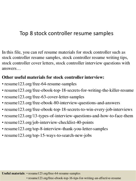 stock controller cover letter top 8 stock controller resume sles
