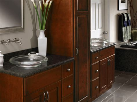 cherry bathroom cabinets cherry cabinets carlton door style cliqstudios