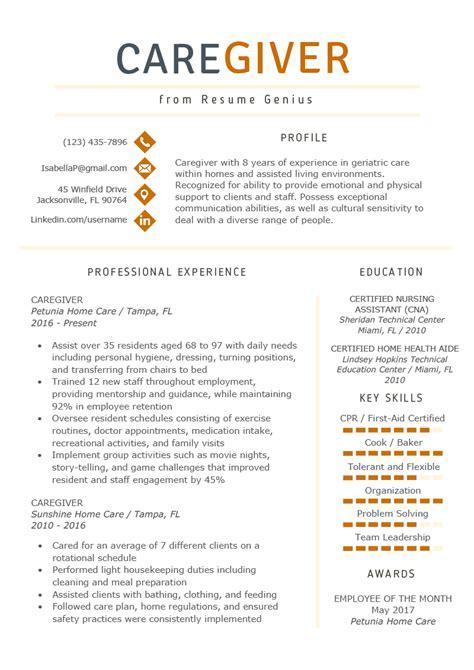 caregiver jobs example of caregiver resume samples