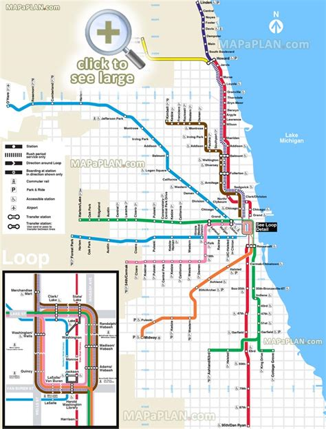 chicago metro map subway chicago map