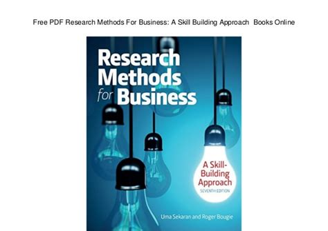 Research Methods For Business 7th Edition free pdf research methods for business a skill building