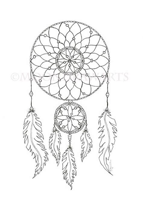 dream catcher coloring template pictures to pin on