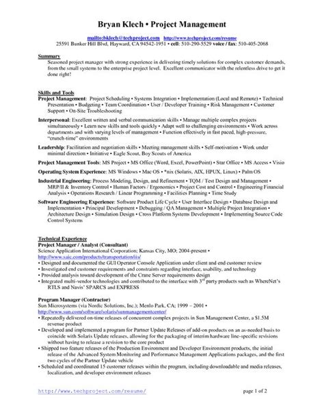 project lead resume sle 28 project manager resume sle doc enernovva org