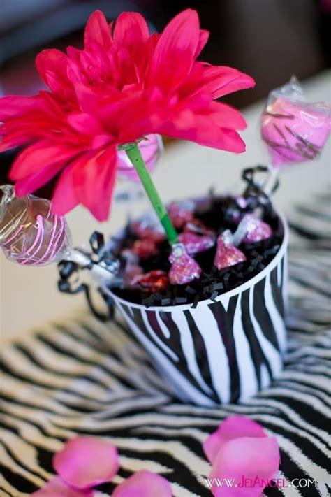 Zebra Print Flower Pot Centerpieces Zebra Birthday Party Zebra Centerpiece Ideas
