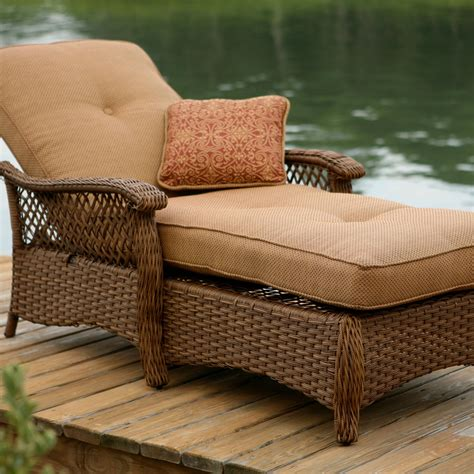 lounger cushions outdoor furniture veranda agio outdoor woven chaise lounge by agio patio
