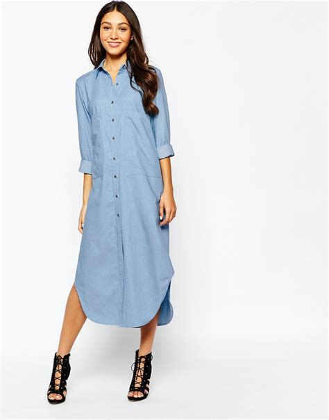 Oversize Dress Front Pocket 41635 never fully dressed chambray oversize dress with pockets in blue lyst
