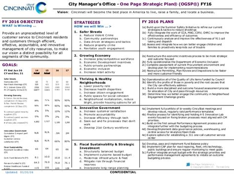 City Of Cincinnati One Page Strategic Plan 1 Page Strategic Plan Template
