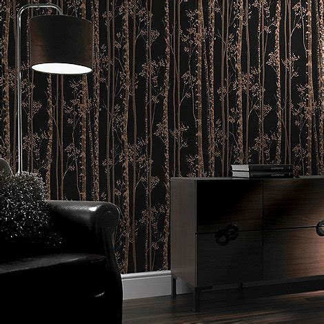 grey wallpaper debenhams graham brown linden black copper branch tree print