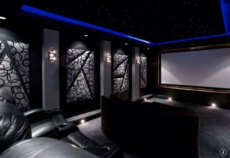 Modern Home Theater with interior wallpaper & Home theater