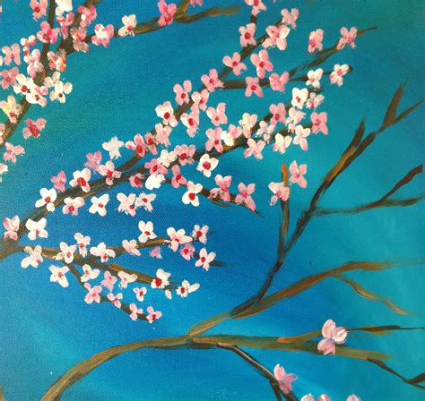 acrylic paint japanese diy acrylic painting of japanese cherry blossoms