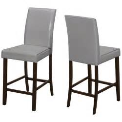 Leather Look Dining Chairs Dining Chair 2pcs Grey Leather Look Counter Height Per Each Pricefalls Marketplace