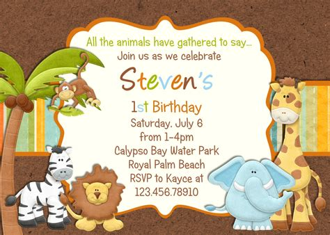 Animal Birthday Card Template by Zoo Jungle Birthday Invitation Jungle Animals By 3peasprints