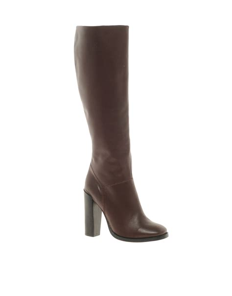 knee high burgundy boots asos cinnamon leather knee high boots in brown burgundy