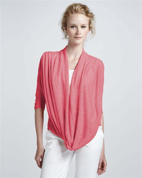 drape sweater alice olivia drape front sweater in pink dark pink lyst