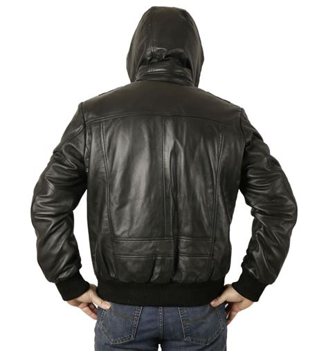 mens leather bomber quot retro quot s hooded black leather bomber jacket from simons leather