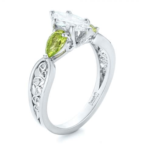 Peridot Engagement Rings by Custom Peridot And Marquise Engagement Ring 102290