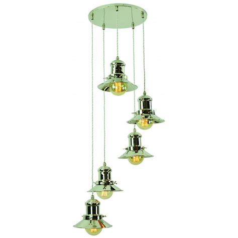 Cluster Ceiling Lights Vintage Industrial Design 5 Light Cluster Pendant In Nickel Finish
