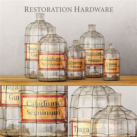 Restoration Hardware Pharmacy Frosted Glass 3d Max 19th C Caged Apothecary Bottle Collection 3d Model Max Obj Fbx