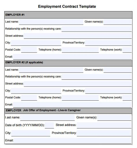 employment agreement template free employment contract 7 free pdf doc sle