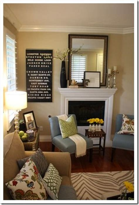 Blue And Neutral Living Room by Small Living Room Space Fireplace Green Yellow And Blue