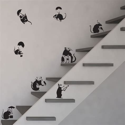 Vinyl Wall Art Stickers banksy rats vinyl wall art decal vinyl revolution pack